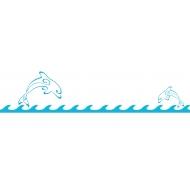 Ligne de vagues avec dauphins