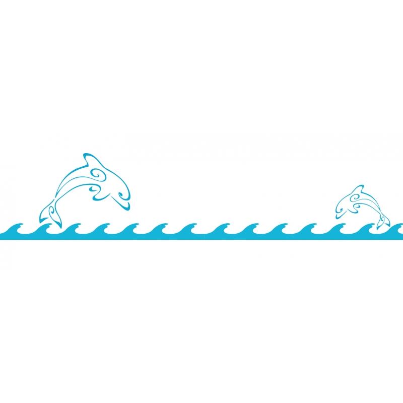 Ligne de vagues avec dauphins - Adhesif Boat